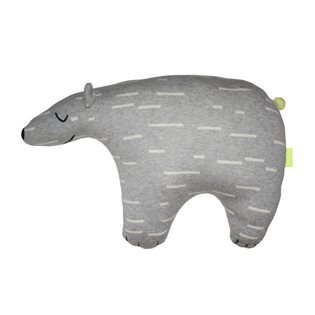 Polar Bear Knut Cushion - Grey & White