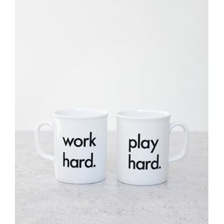 Work Hard, Play Hard Mug - Black & White
