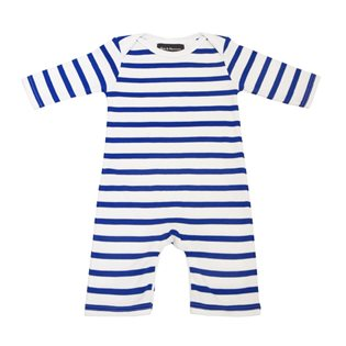 French Blue & White Breton Stripe Babygrow