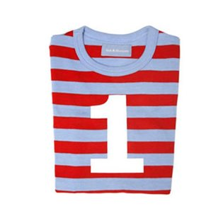 Sky Blue & Red Striped Top With Age