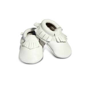 Leather Baby Moccasins - White