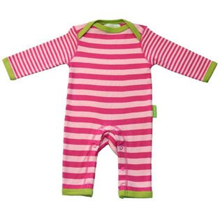 Organic Cotton Stripy Pink Sleepsuit