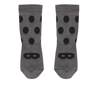 Beau Loves Grey Ankle Socks - Black Dot/Mask