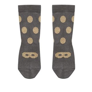 Beau Loves Grey Ankle Socks - Gold Dot/Mask
