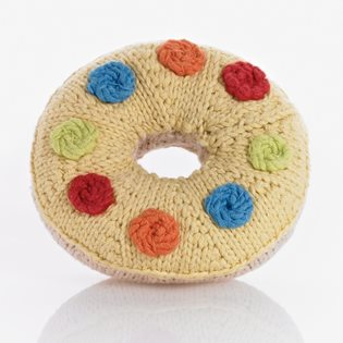 Knitted Donut Rattle - Yellow