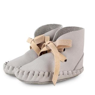 Pina Booties - Leather Light Grey & Nubuk Cream