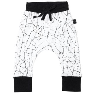 Paint Crack Drop Crotch Pants - White