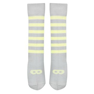 Beau Loves Dove Grey Knee High Socks - Pale Lemon Mask & Stripe