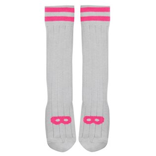 Beau Loves Dove Grey Knee High Socks - Neon Pink Mask