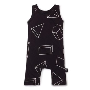 Nununu Geometric Tank Top Overall - Black