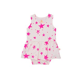 Noe & Zoe Tank Body With Skirt - Neon Pink Stars