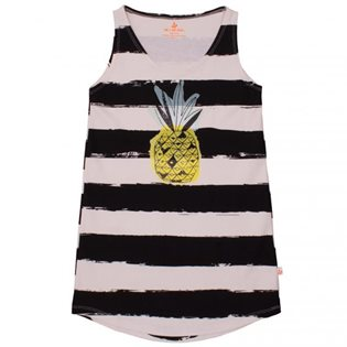 Noe & Zoe Tank Dress - Black Stripes w/Pineapple