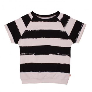 Noe & Zoe Short Sleeve Sweater - Black Stripes