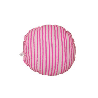 Noe & Zoe Circle Pillow - Neon Pink Stripes