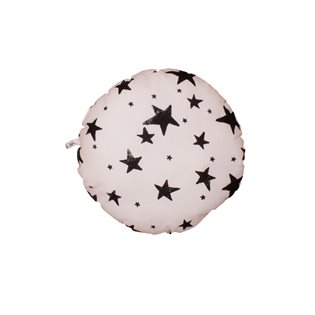 Noe & Zoe Circle Pillow - Black Stars