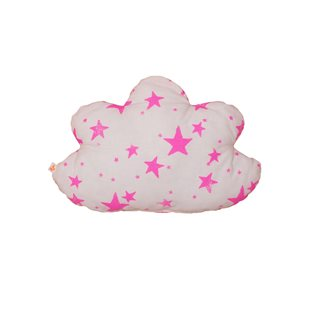 Noe & Zoe Cloud Pillow - Neon Pink Stars & Stripes