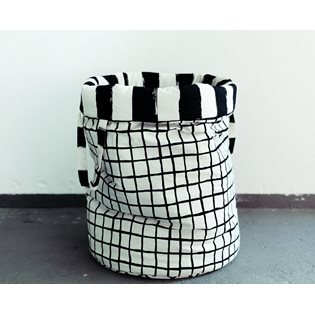 Noe & Zoe Storage Basket - Black Grid & Black Stripes