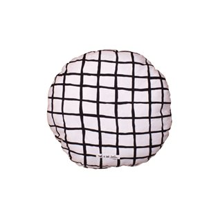 Noe & Zoe Circle Pillow - Black Grid