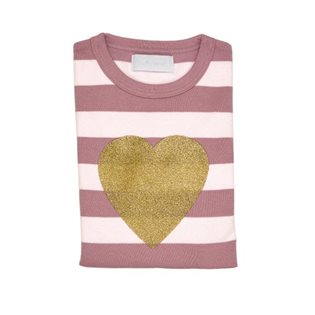 Vintage & Powder Striped Heart T Shirt
