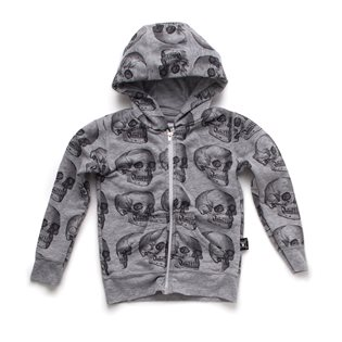 Nununu MD Skull Zip Hoodie - Heather Grey