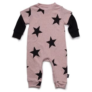 Nununu Star Playsuit - Black/Powder Pink