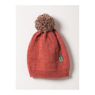 Bunny Red Embr Beanie