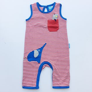 Red and White Stripe Babygrow with mouse