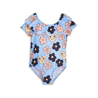 Flowers SS Swimsuit - Light Blue