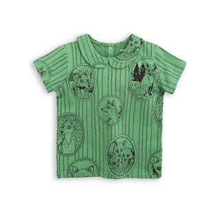 Fox Family Collar Tee - Green
