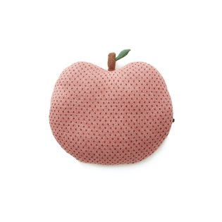 Apple Pillow - Rose/Burgundy Dots
