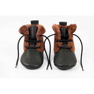 Amy & Ivor Sheepskin High Tops - Burnt Sienna/Black