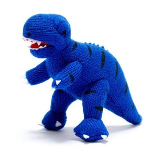 Knitted Mini T-Rex Rattle - Blue
