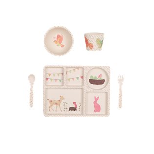 Bamboo Dinnerware 5pc Set - Woodland Tea Party
