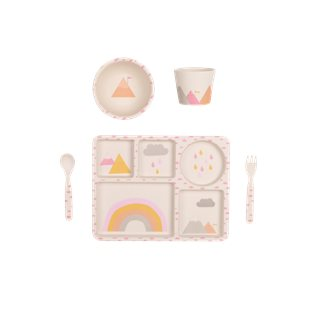 Bamboo Dinnerware 5pc Set - Rainbows