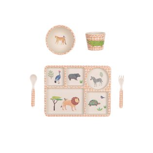 Bamboo Dinnerware 5pc Set - On Safari