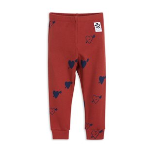 Heart Rib Leggings - Red