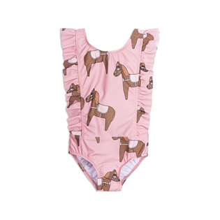 Horse Ruffled Swimsuit - Pink