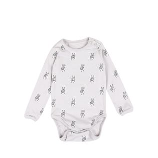 Peace AOP Baby Body LS - Vapour Grey