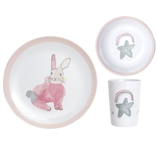 Lapin Pink Bunny Dinner Set