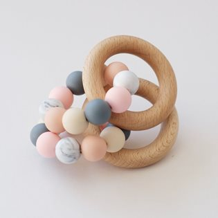 Wooden Ring Teether - Peach Mix