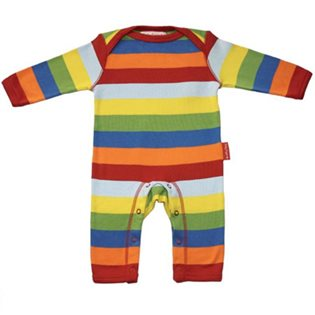 Organic Rainbow Multi Stripe Sleepsuit