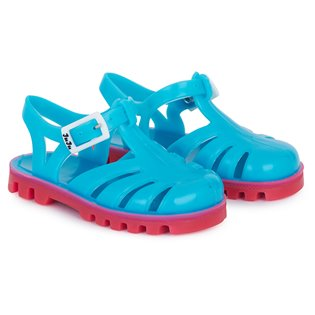 Aqua and Pink Jelly Sandals