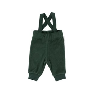 Solid Towel Braces Pants - Dark Green