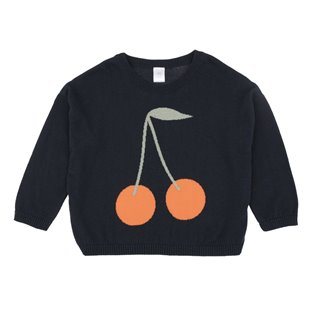 Cherries Sweater - Navy/Red