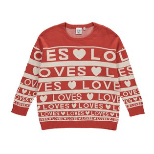 Beau Loves Knit Sweater - Loves Stripes AOP Red/Cream