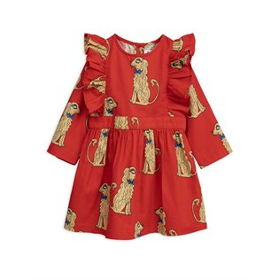 Spaniels Woven Ruffled Dress - Red
