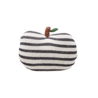 Mini Apple Pillow - Dark Grey/ White Stripes