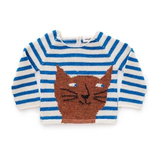 Cat Sweater - White/Ocean Stripes