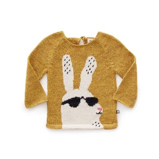 Bunny Sweater - Mustard/White