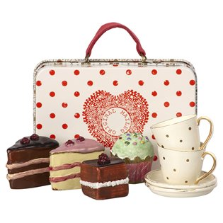 Maileg Mouse Suitcase - With Cakes & Tableware For 2